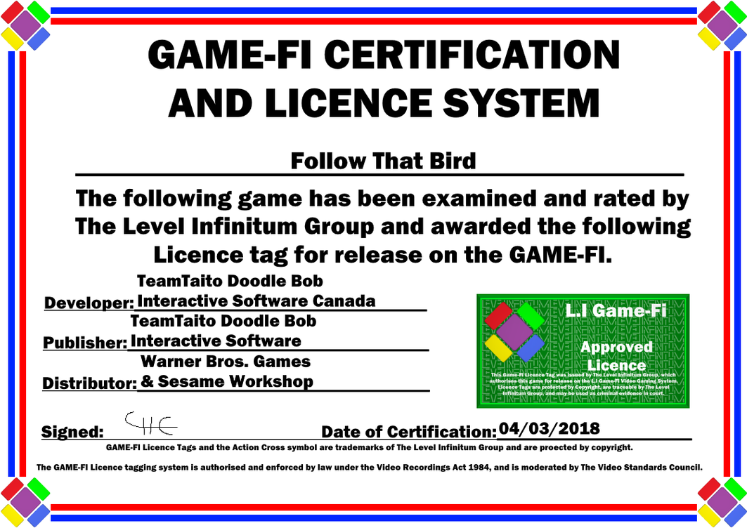 Follow That Bird Game-Fi Certificate by LevelInfinitum