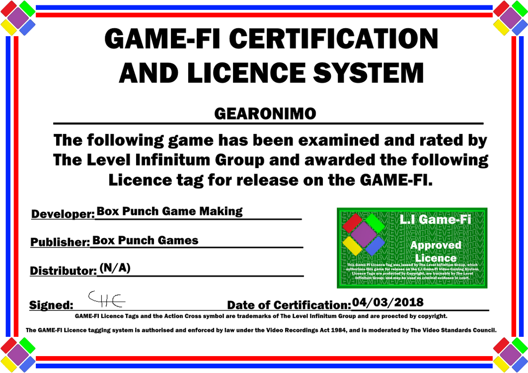 Gearonimo Game-Fi Certificate by LevelInfinitum