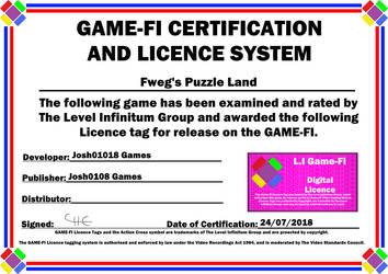 Fweg's Puzzle Land Game-Fi Certificate