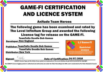 Anitude Team Heroes Game-Fi Certificate