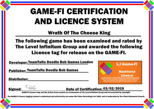 Wrath of Cheese Game-Fi Certificate