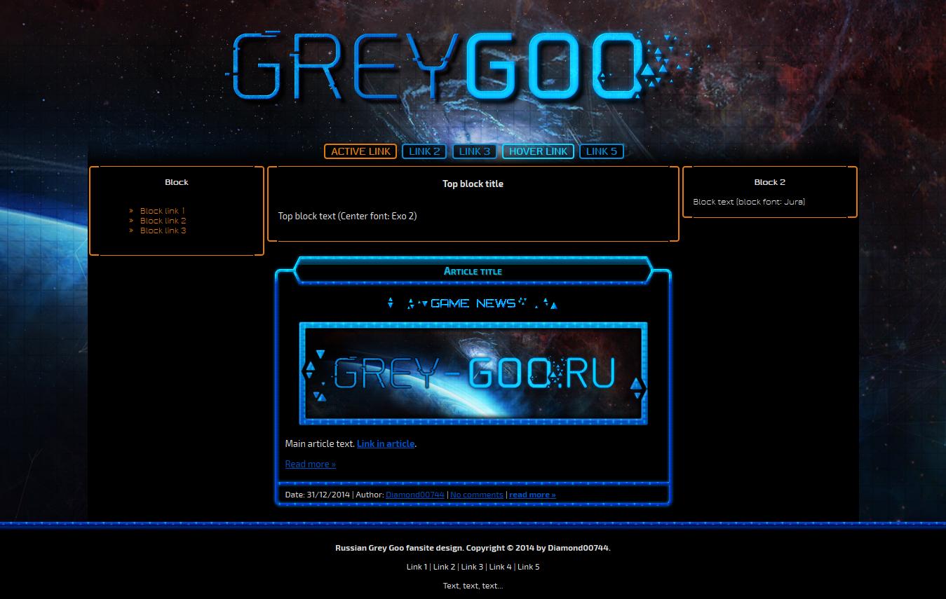 Russian Grey Goo fansite design by Diamond00744