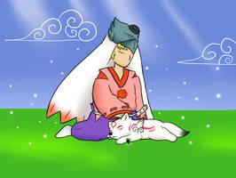 Chibiterasu's lullaby by Karrotcakes