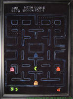 Pac-man on black velvet by Clockworkalien