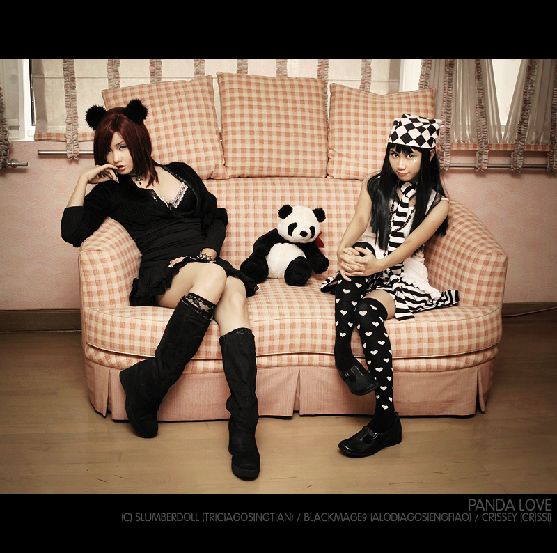 Alodia and Crissey: Panda Love by slumberdoll
