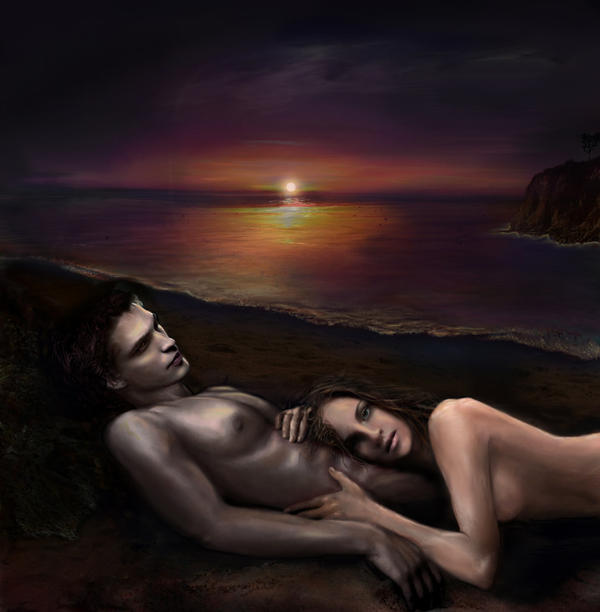 Edward and Bella on Esme Isle by nicolebarker