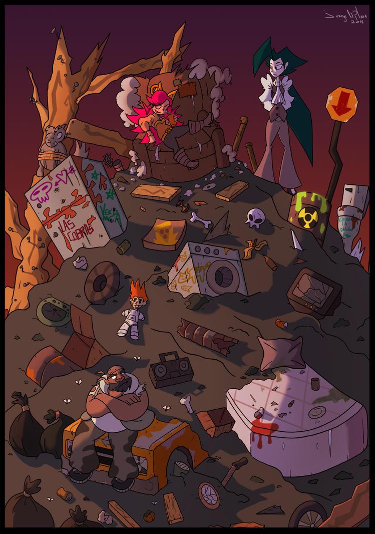 La jefa, la ingeniera y konga by FalloutCat