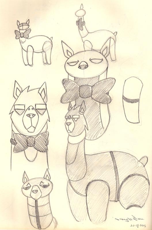 Cyborg Alpaca Sketches by FalloutCat