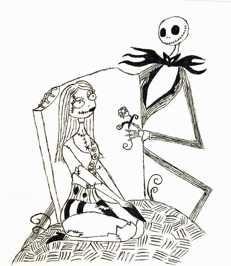 Jack skellington colouring pages page 2 - Nightmare Before Christmas Color Page Jack And Sally By Master Chan55