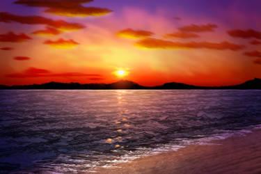 Sunset Sea by AaronRutten