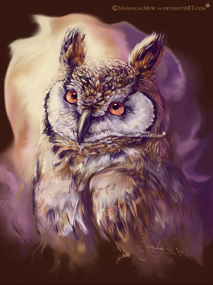 Long-Eared Owl Painting by ManiacalMew