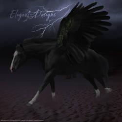 HEE Premade   Black Pegasus in Stormy Desert