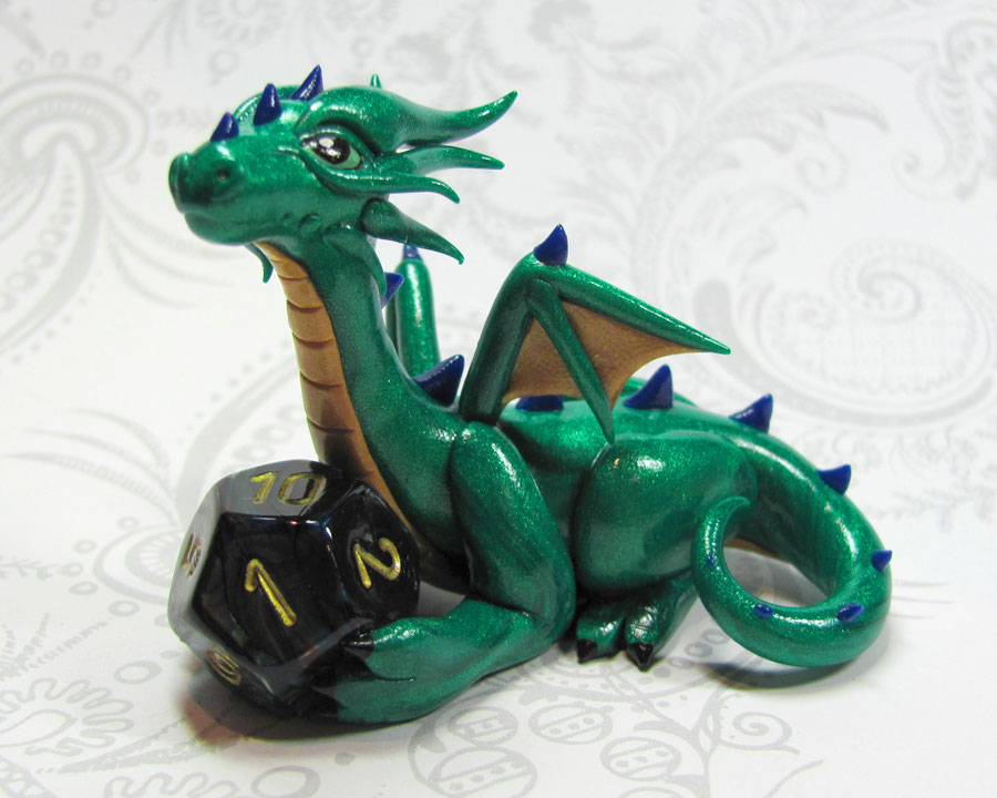 Custom Emerald Dice Dragon by DragonsAndBeasties