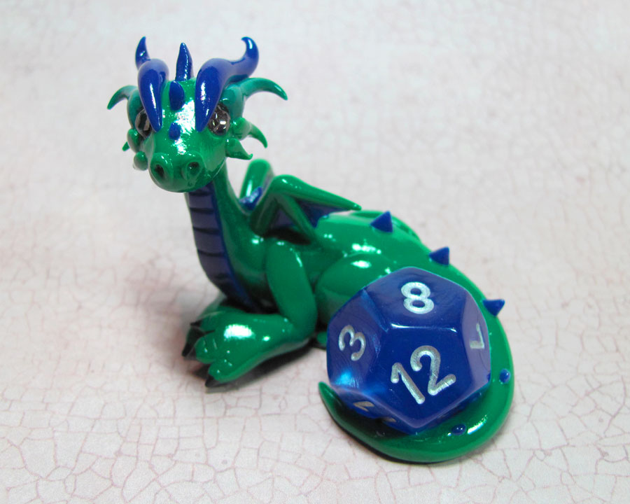 Custom Green Dice Dragon by DragonsAndBeasties