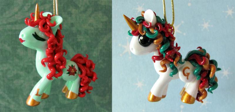 Christmas Pony Ornaments by DragonsAndBeasties
