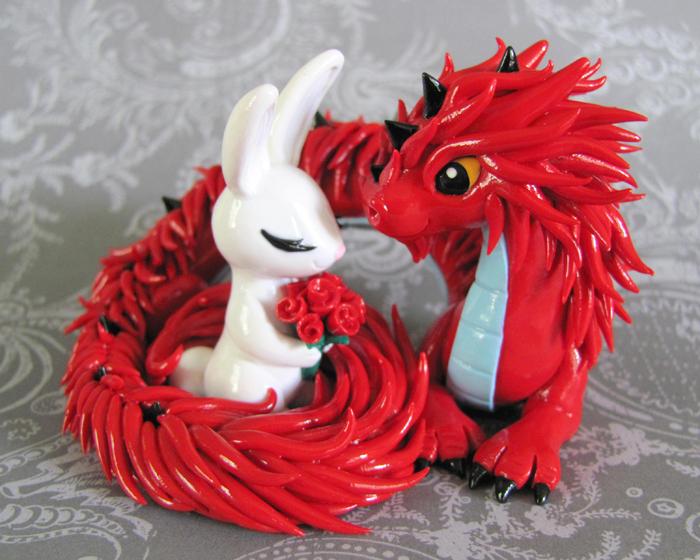 Dragon and bunny cake topper by DragonsAndBeasties