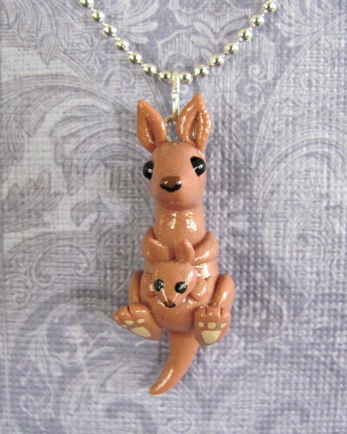Mama Kangaroo Pendant by DragonsAndBeasties