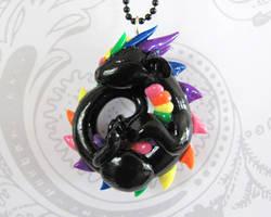 Sleeping Rainbow Dragon Pendant by DragonsAndBeasties