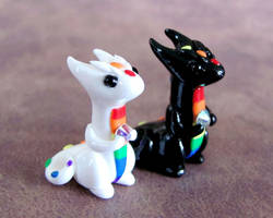 Black and White Rainbow Minis by DragonsAndBeasties
