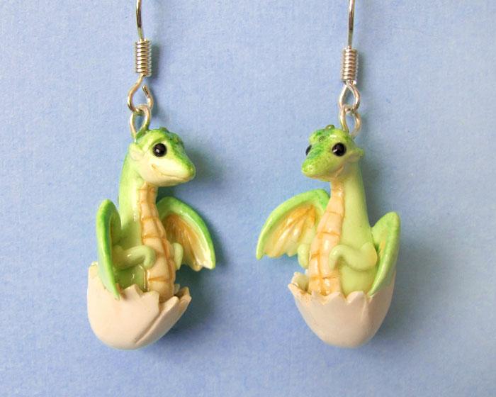 Baby Dragon Earrings by DragonsAndBeasties