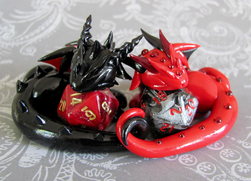 Sleeping Dice Dragon Couple by DragonsAndBeasties