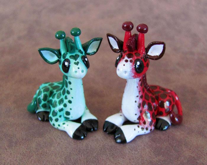 Red and green giraffe couple by DragonsAndBeasties