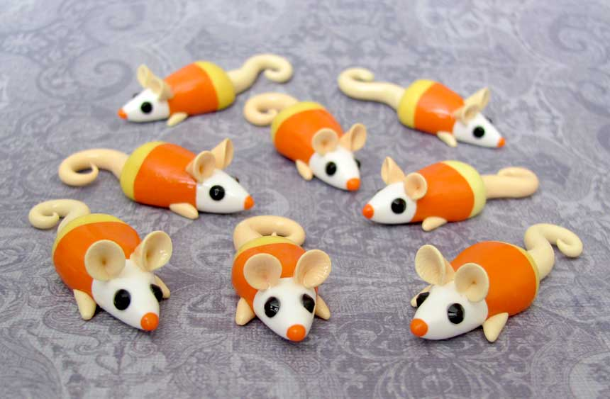 Candycorn Rat Magnets by DragonsAndBeasties