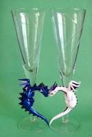 Dragon Wedding Flutes by DragonsAndBeasties