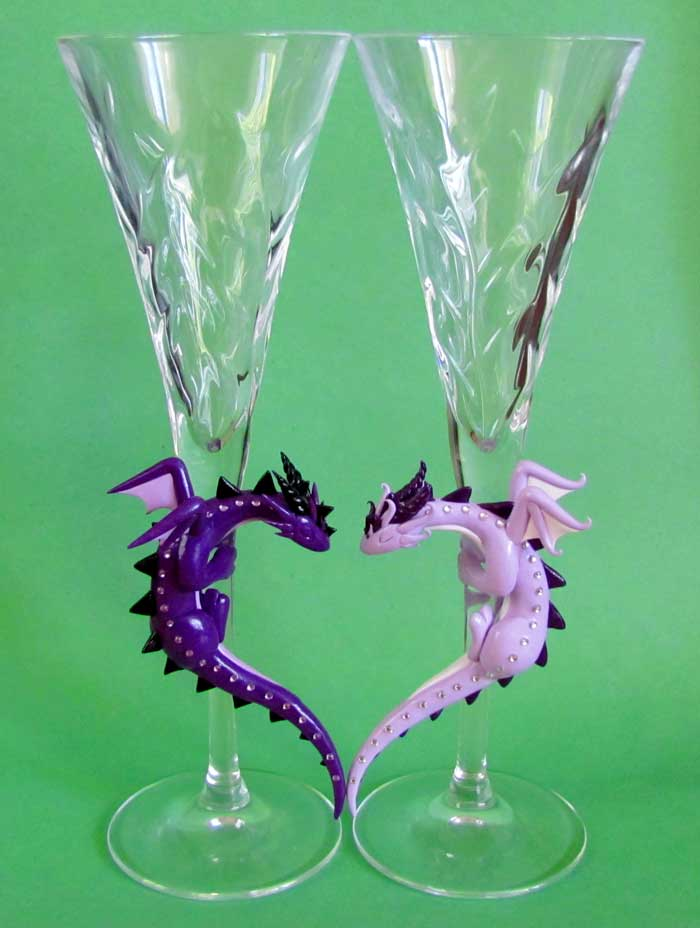 Purple Dragon Toasting Glasses by DragonsAndBeasties
