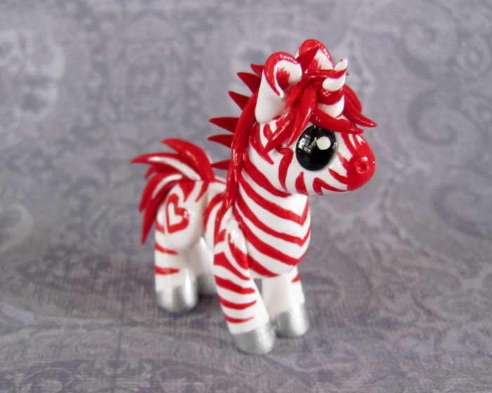 Candycane Zebracorn by DragonsAndBeasties