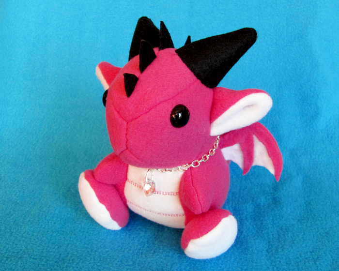 Pink Sitting Dragon Plushie by DragonsAndBeasties
