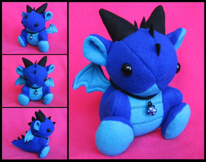 Blue Dice Dragon Plushie by DragonsAndBeasties
