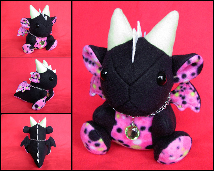 Speckled Neon Dragon Plushie by DragonsAndBeasties