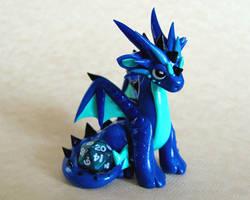 Blue Mini Dice Dragon by DragonsAndBeasties