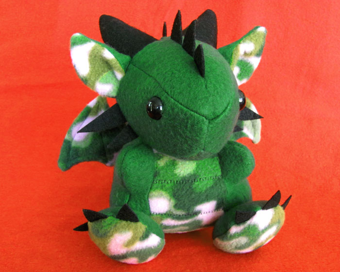 Green Camo Dragon Plush by DragonsAndBeasties
