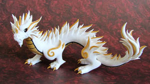 White and Gold Oriental Dragon - Auction by DragonsAndBeasties