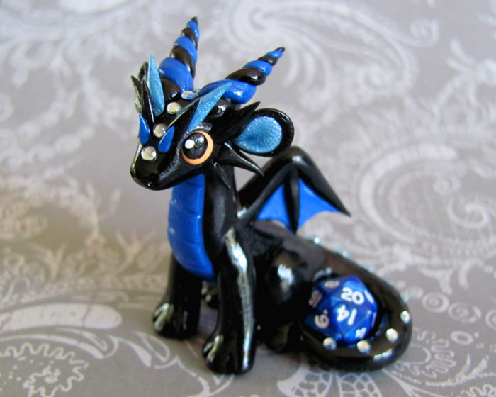 Black and Blue Mini Dice Dragon by DragonsAndBeasties