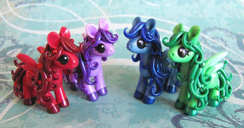 Gem Ponies by DragonsAndBeasties