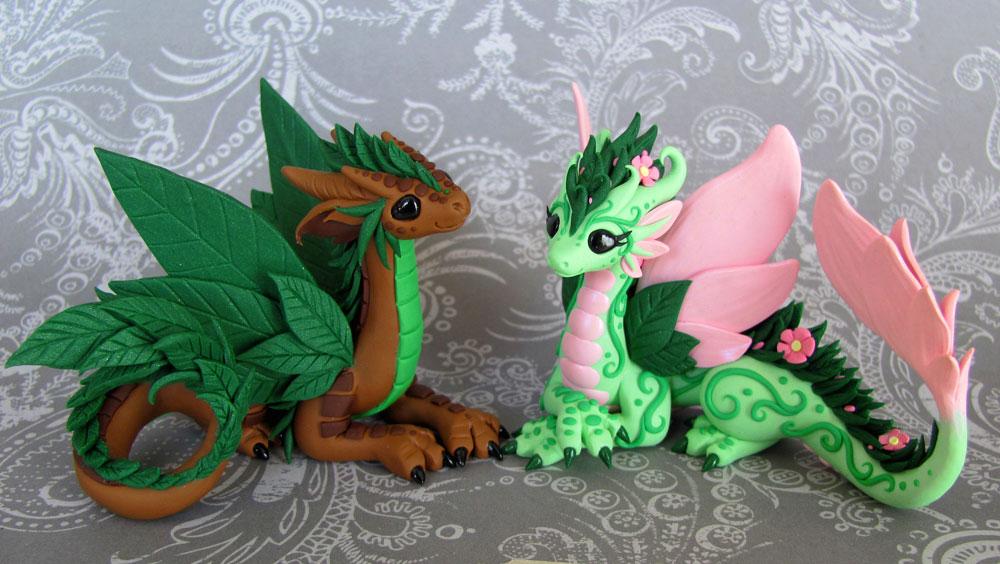 Leaf and Flower Dragon Couple by DragonsAndBeasties