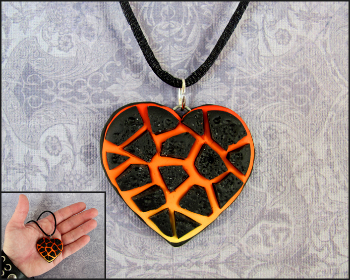 Molten Lava Heart Necklace by DragonsAndBeasties on deviantART
