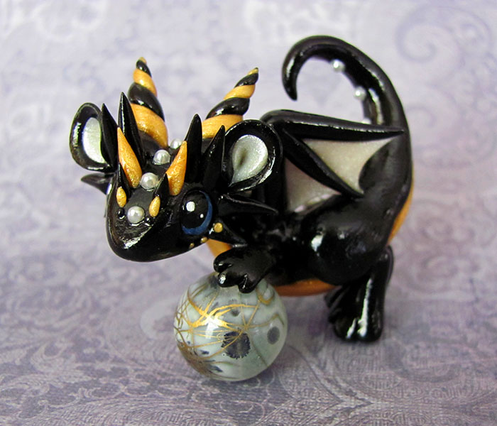 Black and Gold Baby Dragon by DragonsAndBeasties