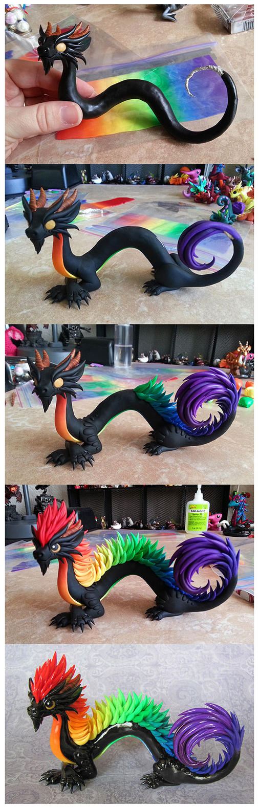 Oriental Rainbow Progress by DragonsAndBeasties