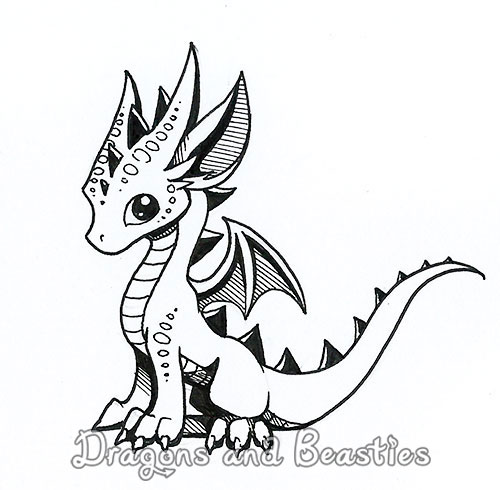Inktober: Little Dragon by DragonsAndBeasties