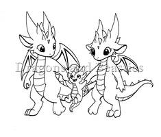 Inktober: Little Dragon Family by DragonsAndBeasties