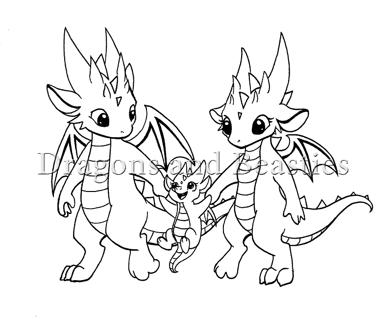 Inktober: Little Dragon Family by DragonsAndBeasties