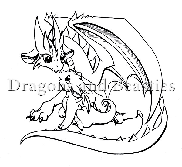 baby dragon coloring pages - inktober mama and baby by dragonsandbeasties on deviantart