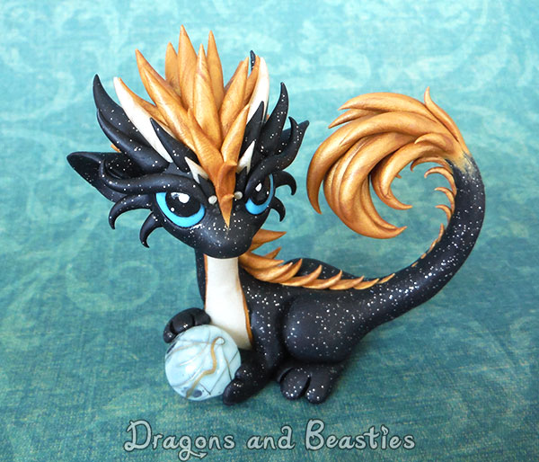 Glittery Black and Gold Dragon by DragonsAndBeasties