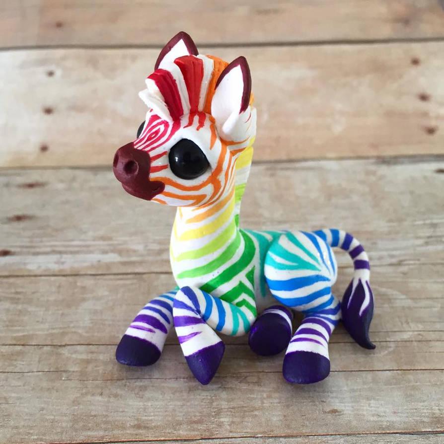 Rainbow Zebra by DragonsAndBeasties