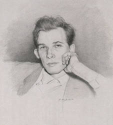 Pencil Sketch of Young Glenn Gould