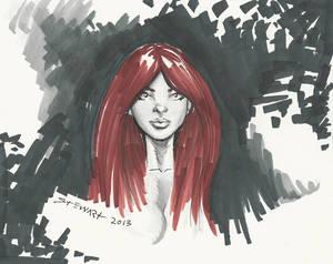 Michael Stewart Copic Marker Sketch RedHead